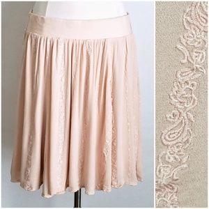 Torrid Peach Embroidered Elastic A-Line Skirt